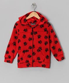 Take a look at this Red & Black Paw Polar Fleece Coat - Toddler & Kids by Giovanni on #zulily today!
