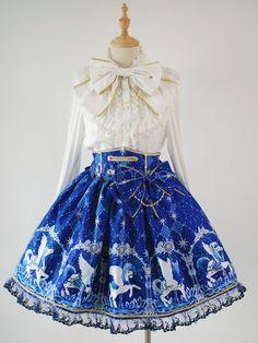 a31b6fb408c Sweet Lolita Skirt Angelic Pretty Replica Pegasus Printed SK Lolita Skirt  Harajuku Fashion