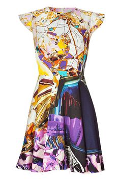 Multicolor Wallpaper Print Cap Sleeve Dress - Mary Katrantzou.