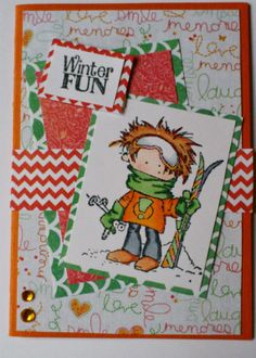 Made by Maroeska - Card with clear stamp from Marianne Design, Dasy & Don. Winter Fun. Copics and Flexmarkers.