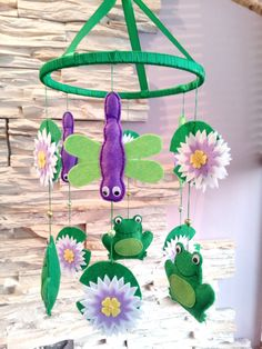 Baby Crib Mobile  Baby Mobile  Dragonflys & Frogs Mobile by Sabnax