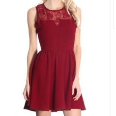 Amazing burgundy lace upper dress Burgundy Crochet dress  Burgundy close neck dress equipped with a gorgeous lace upper. Only have small available. Smoke free home. Wholesale items may or may not have hang tags, but are brand new. Boutique Dresses Mini