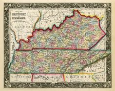 Antique Tennessee & Kentucky Map. Kentucky on the north state line; on the south state line is Mississippi, Alabama (centre) & Georgia