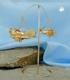 Pendel mit 2 kleinen Flugzeugen  Kristall-Glas, die Pendel rotieren 360 Grad um Ständer, Propeller beweglich, gold-plattiert