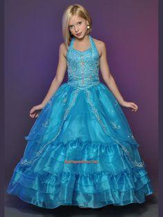 Little Girl Pageant Dresses,Beautiful Ball gown Halter top neck floor length Little Rosie Girls Pageant Dress W0701022