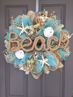 Beach Burlap Deco Mesh Wreath with Seashells, Seashell Wreath, Beach Wreath, Starfish Wreath