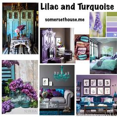 Bring the lilacs in. Fresh color scheme of lilac and turquoise www.somersethouse.com.