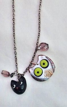 Owl and Pussy Cat necklace, story necklace, large owl charm , black cat charm , crystal beads
