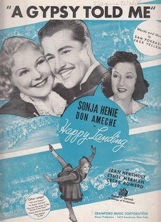 A Gypsy Told Me 1938 Sheet Music Sonja Henie Don Ameche Ethel Merman 20th Century Movie Happy Landing