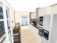 3D floor plan for galley kitchen with stacked ovens, refrigerator, coffee items, hardwood floors and Valentine's Day decorations.  Visualize your kitchen redecorating project in 3D:  http://planner.roomsketcher.com/?ctxt=rs_com  Designed in RoomSketcher by Franziska Su Shui (RoomSketcher user)