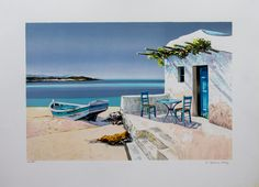 Original Lithograph of Jean-Pierre BERTAUX-MARAIS, painter, titled : The Fisherman's House. We also propose for sale a large choice of original works of Art and reproductions by contemporary artists Watercolor Projects, Watercolor Landscape, Landscape Paintings, Watercolor Paintings, Building Art, Happy Paintings, Beach Portraits, Greek Art, Diy Canvas Art