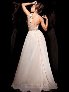 Fascinating A-line One Shoulder Floor-length Chiffon White Prom Dresses - $141.99 - Trendget.com