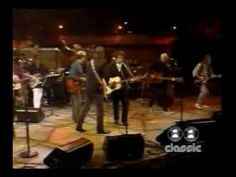 """▶ A crew that made a big, big mark in modern music history. Bob Dylan, George Harrison, Neil Young, Roger McGuinn, Tom Petty and Eric Clapton play Bob Dylan's """"My Back Pages"""" at Madison Square Garden"""