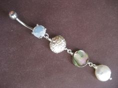 Mermaid Belly Button Ring- Triple Coin Mother of Pearl Abalone Shell Beaded Stone Dangle Navel Piercing