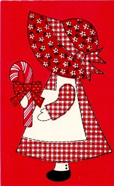 VTG ADORABLE CHRISTMAS CANDY CANE BONNET GIRL STICKER SHEET BY HALLMARK