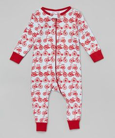 Another great find on #zulily! Light Blue & Red Bicycle Organic Playsuit - Infant #zulilyfinds