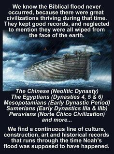 The Noah's flood myth. We know the biblical flood never occured, because there were great civilizations thriving during that time.  They kept good records, and neglacted to mention they were all wiped from the face of the earth.  The Chinese (Neolitic Dynasty) The Egyptians (Dynasties 4, 5, and 6) Mesopotamians. 11.20.2017