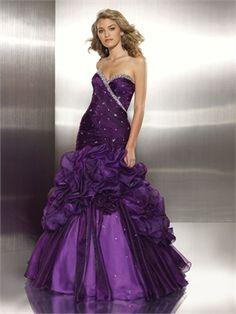 Ball Gown Sweetheart Floor Length Beaded Organza Purple Prom Dress PD10498 www.dresseshouse.co.uk $122.0000
