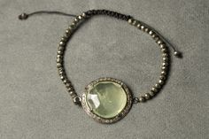 Peridot with Diamond Bezel and Pyrite Bracelet — Siena Jewelry Green Stone, Love Bracelets, Siena, Peridot, Gemstone Rings, Hoop Earrings, Gemstones, Diamond, Jewelry
