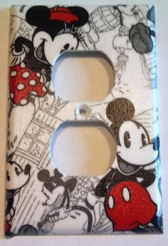 Retro Black, Grey and Red Mickey Mouse And Minnie Mouse Print Outlet Plate Cover Mickey Mouse Bathroom, Mickey Mouse Room, Mickey Mouse Kitchen, Disney Kitchen, Casa Disney, Disney Diy, Disney Crafts, Disney House, Disney Ideas
