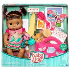 Hasbro toys at Kohl's - Shop our full selection of toys and games, including this Baby Alive Day Out with Mommy Doll Set by Hasbro, at Kohl's. The Babys, Baby Alive Food, Baby Alive Dolls, Baby Dolls For Kids, Toys For Girls, Baby Dolls That Cry, Baby Doll Diaper Bag, American Girl Doll Julie, Girls Playhouse