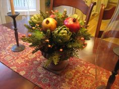 Tuscan Fall  Winter Centerpiece with Artichokes and Pomegranates
