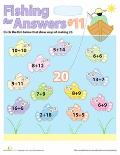 Time to start fishin' for addition! Here's a great series of worksheets that will help your child practice his simple addition and counting, perfect for visual learners. He'll find all the ways to add numbers to make 10.