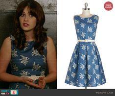 Jess's blue bird dress on New Girl.  Outfit Details: http://wornontv.net/40666/ #NewGirl