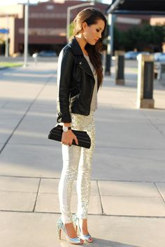 Leather jacket and sequin pants! I'm dying, I'm in love. Can I wear this every day?!
