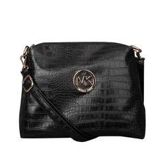 Michael Kors Embossed Logo Charm Medium Black Crossbody Bags