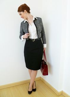 Outfit inspired by my readers Black Skirt Suit, Pencil Skirt Black, Pencil Skirts, Gray Skirt, Black Belt, Maxi Blazer, Classy Street Style, Maxi Outfits, Work Outfits