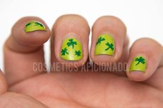 shamrock nail art, nail art for nubs, nail art for short nails, st. patrick's day, green, via @CosmeticsAficionado