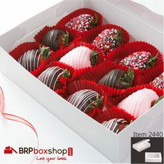 A dozen Chocolate Covered Strawberries in one of our 10x7 boxes. We also have them available in Pink, Chocolate Brown, and Natural Kraft Brown.