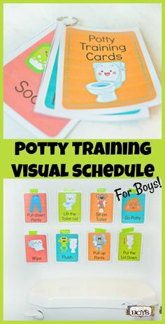 A potty training visual schedule takes the stress out of potty training for you and your child. These potty training cards are simple to download, print and hang and give your child confidence in each step of potty training, #pottyraining #pottytrainingboys #pottytrainingtips #visualschedule #momschedules #motherhood #momlife #momresources #momtips #momhelp #raisingkids #resources #thejoysofboys