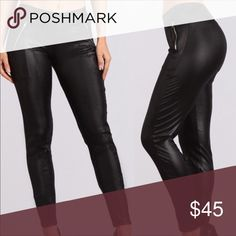 Vegan leather leggings Vegan leather leggings with zipper, high waist. Cotton/poly blend... listed as small led and large but they are truly one size fits most! WILA Pants Leggings