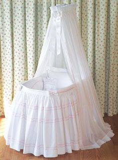 Blauen, Fine Linens for the Baby - Pink Seedling Bassinet Ensemble Baby Bassinet, Baby Cribs, Cradles And Bassinets, Baby Shawer, Moses Basket, One Bed, Baby Bonnets, Baby Carriage, Welcome Baby