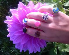 jewellery, jewelry, handmade rings, colours, rings, fashion, style, circle, polymeric clay, fimo rings, liz art on facebook