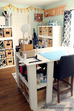 My Craft Room plus MORE Craft Room Tours Craft Organisation, Sewing Room Organization, Organizing Tips, Craft Room Desk, Craft Room Storage, Paper Storage, Small Craft Rooms, Craft Space, Country Chic Cottage