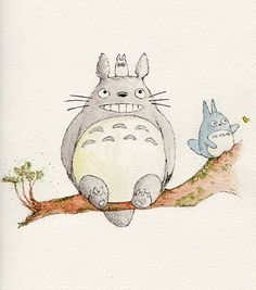 A sketch and watercolour of totoro from Studio Ghibli's My Neighbor Totoro. Studio Ghibli Art, Studio Ghibli Movies, Totoro Drawing, Ghibli Tattoo, My Neighbor Totoro, Marker Art, Kawaii Art, Easy Drawings, Japanese Art