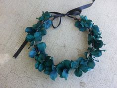 Teal Floral Headband/ Flower Crown. Coachella or by DevineBlooms