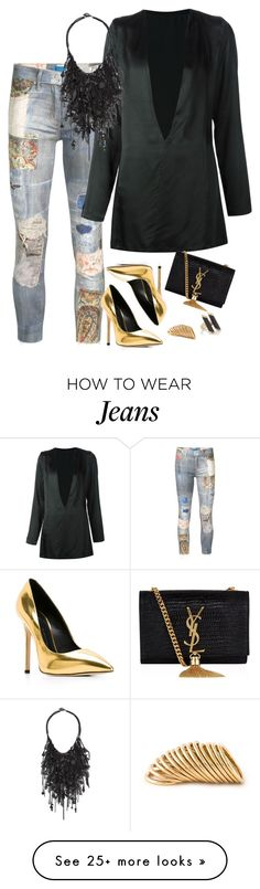 """Original Pin : """"Patchwork jeans"""" by alwayswearwhatyouwanttowear on Polyvore featuring Mother, Ann Demeulemeester, Vera Wang, Giuseppe Zanotti, Yves Saint Laurent, Shaun Leane, Maiyet, outfit, outfits and fashionset"""