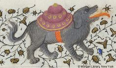 Dog with shield on its back | Book of Hours France, Paris, ca. 1420-1425 | The Morgan Library & Museum