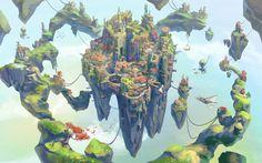 Fantasy Islands, Neil Richards on ArtStation at… Fantasy City, Fantasy Castle, Fantasy Island, Fantasy Map, Fantasy Places, Fantasy Kunst, Fantasy World, Art Environnemental, Rpg Map