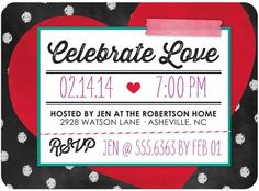 Loving Cheer - Valentine's Day Party Invitations in Winterberry Red