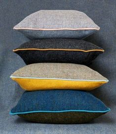 Harris Tweed cushion with contrast piping in contemporary colours. Uses both Herringbone and plain Harris tweed. Scatter Cushions, Throw Pillows, Plain Cushions, Yellow Cushions, Sofa Cushions, Couch, Cushion Inspiration, Grey Home Decor, Harris Tweed