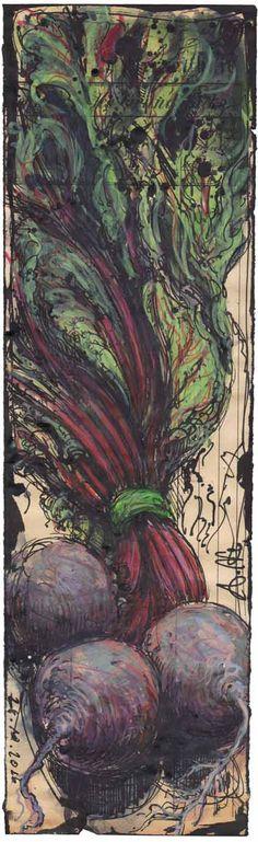 """""""Rote Beete"""" 34,5 x 10 cm, Federzeichnung, Aquarell, Farbstift 2016"""
