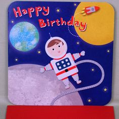 BIRTHDAY CARD MAN ON MOON AND ROCKET – The Gift Present Shop