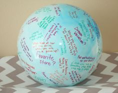 Toss & Talk Ball **with over 70 questions** for girls slumber party-sleepover. Sit in a circle, toss the ball, answer the question where your right thumb lands