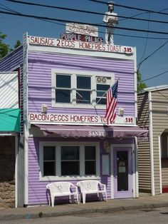 """Pinner said...""""the Purple Place""""...alright, I've eaten here...in the rain, with the kids....camping!  York, Maine"""