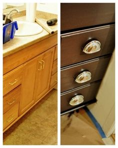 Gel Stain cabinet refinish – I guess I'll be ordering some General Finishes Gel Stain in Java for my kitchen!